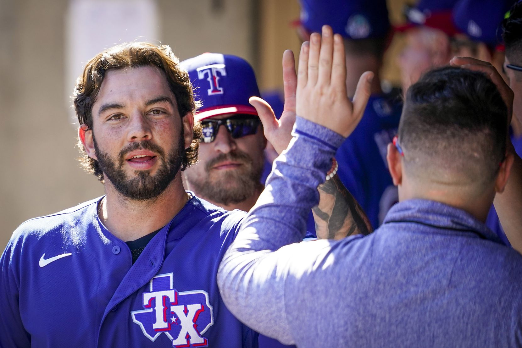 Texas Rangers catcher Blake Swihart celebrates after scoring a run during the third inning of a spring training game against the Colorado Rockies at Salt River Fields at Talking Stick on Wednesday, Feb. 26, 2020, in Scottsdale, Ariz.