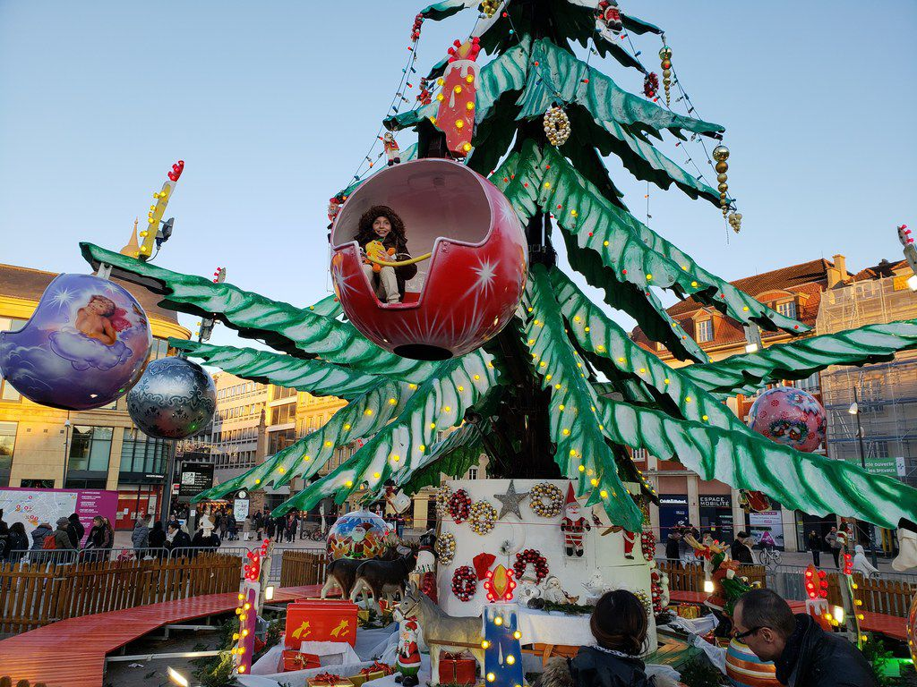 Many Christmas markets have rides for kids, including this one in Metz, France.