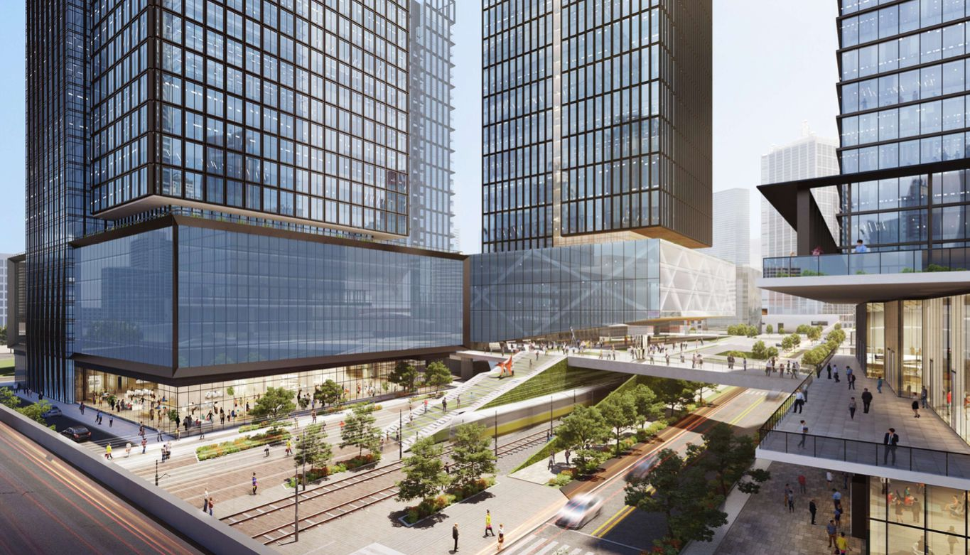 The $1 billion Field St. District on the north side of downtown Dallas will contain a mixture of high-rise buildings.