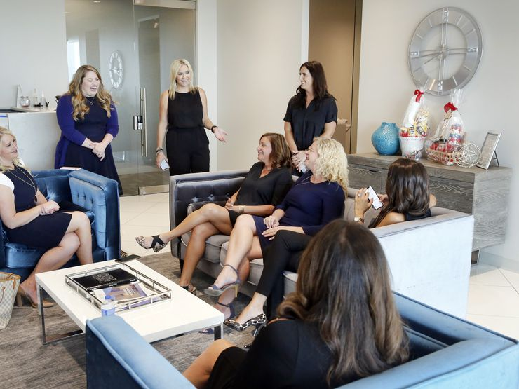 Monument Realty agents gathered for a meeting in the company's One Cowboys Way office at The Star in Frisco on Aug. 28.