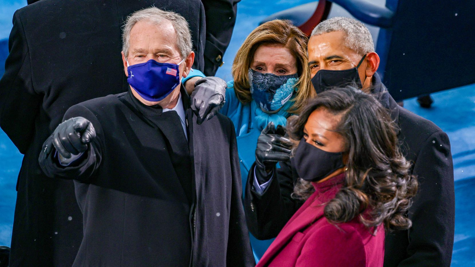 Former Presidents George W. Bush and Barack Obama, House Speaker Nancy Pelosi, and former first lady Michelle Obama arrive at the inauguration of President Joe Biden on the West Front of the US Capitol on Jan. 20, 2021.