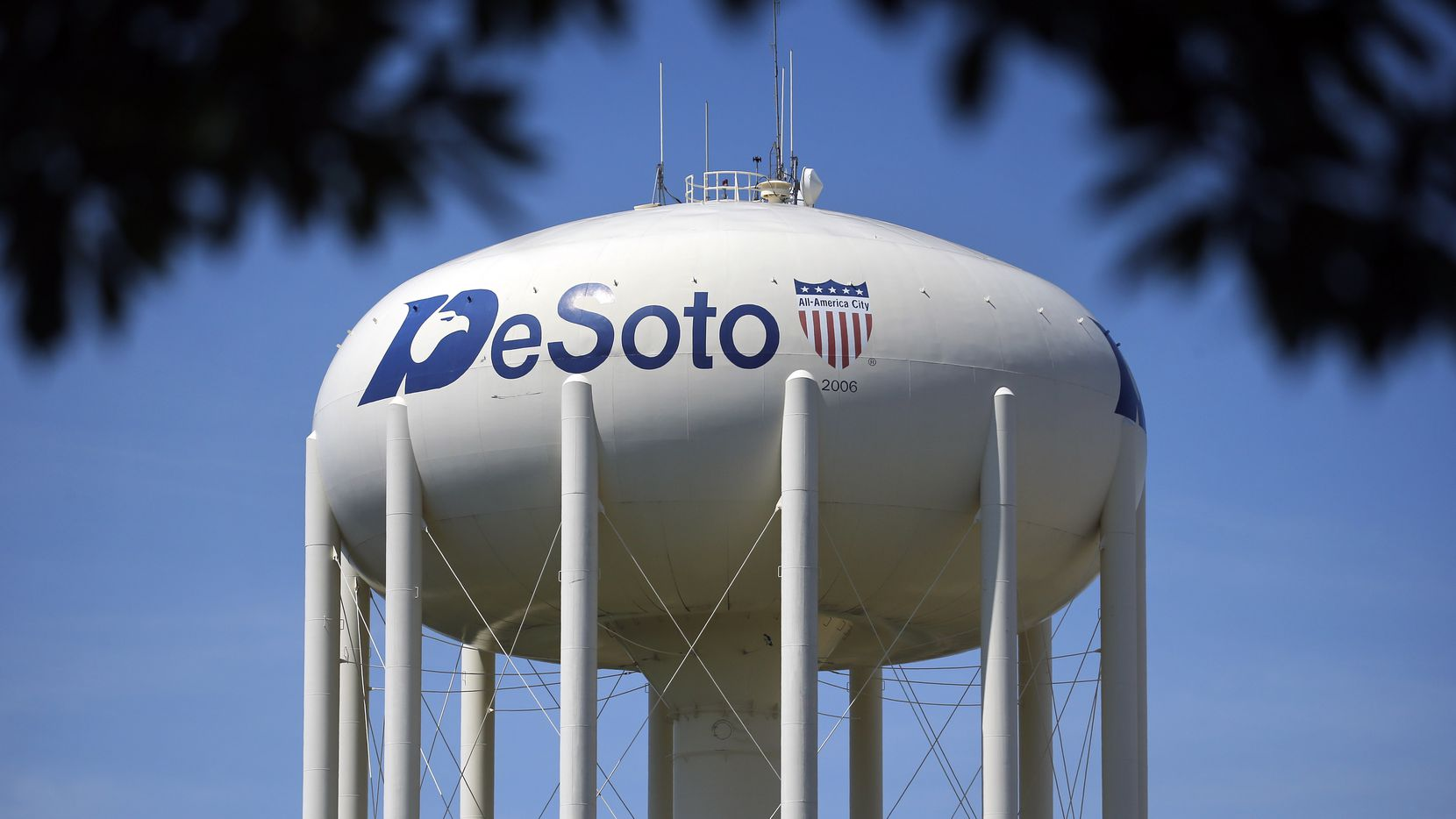 A City of DeSoto water tower is pictured in DeSoto, Texas, Wednesday, June 24, 2020.