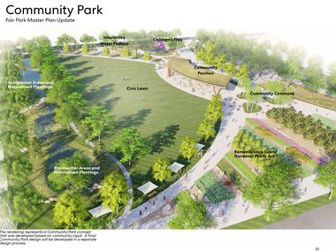 The Dallas City Council on Wednesday will vote on the updated master plan for its 277-acre property. The plan, shown in this conceptual rendering from June 2020, includes an infusion of green space into the park, which is currently more parking lot than actual park.
