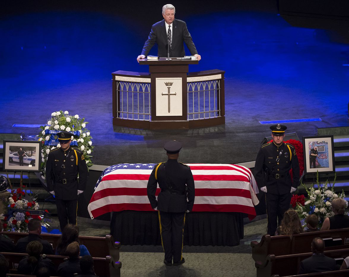 Dr. Jack Graham speaks during funeral services for Dallas police Sr. Cpl. Lorne Ahrens at Prestonwood Baptist Church on Wednesday, July 13, 2016, in Plano.