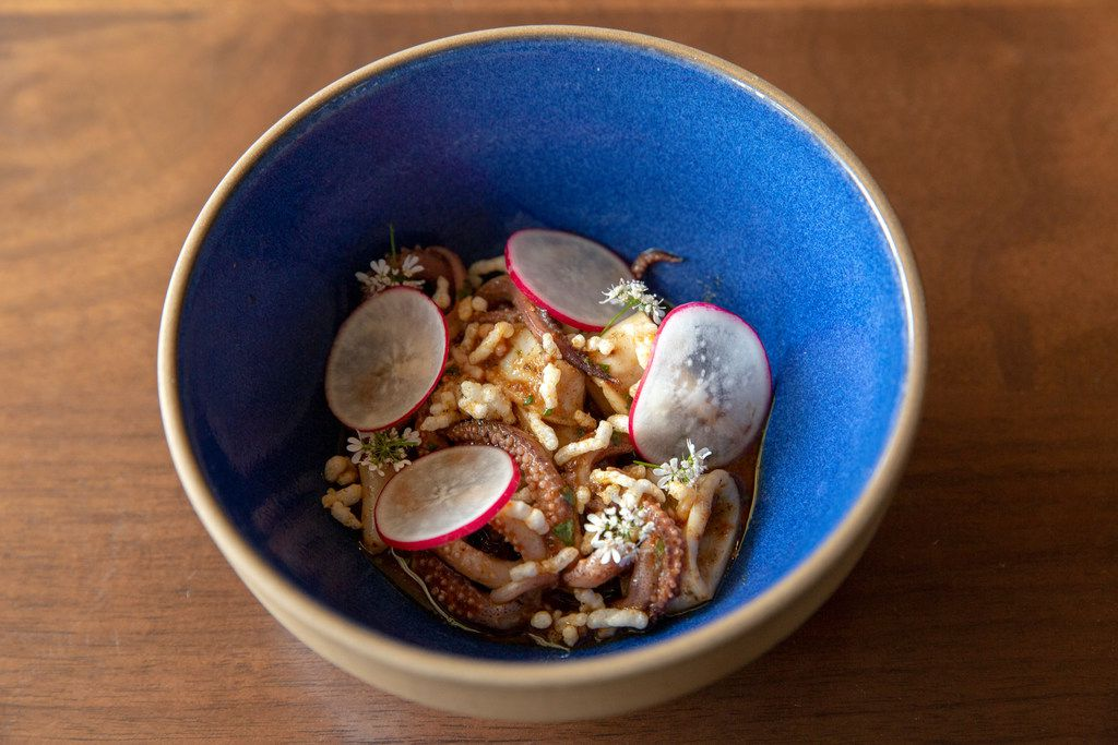 Embered Monterey squid with smoked chile, puffed rice and radishes