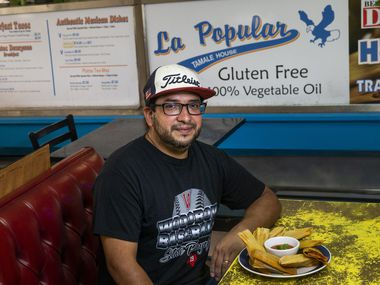 Owner Jesse Moreno poses for a portrait at La Popular Tamale House on Bryan Street in Dallas.
