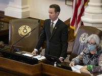 House Speaker Dade Phelan stands at the dais in the House chamber of the Texas Capitol in Austin on Wednesday, March 17, 2021. (Juan Figueroa/ The Dallas Morning News)