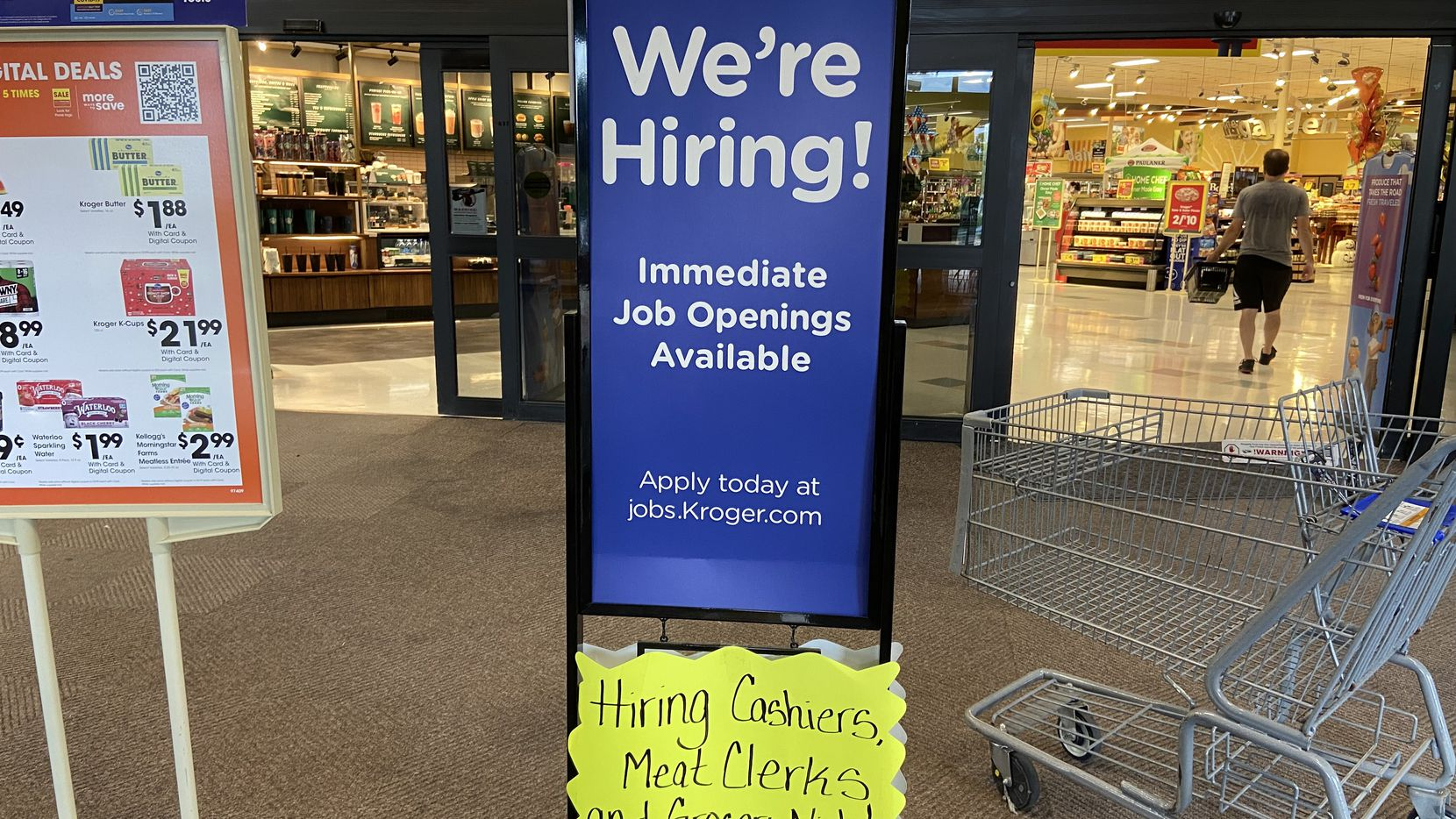 The tight labor market is a concern for retailers who need to staff up for the holidays. Similar signs are posted throughout the Dallas-Fort Worth region. This one is at a Kroger at 9140 Forest Lane in Dallas.