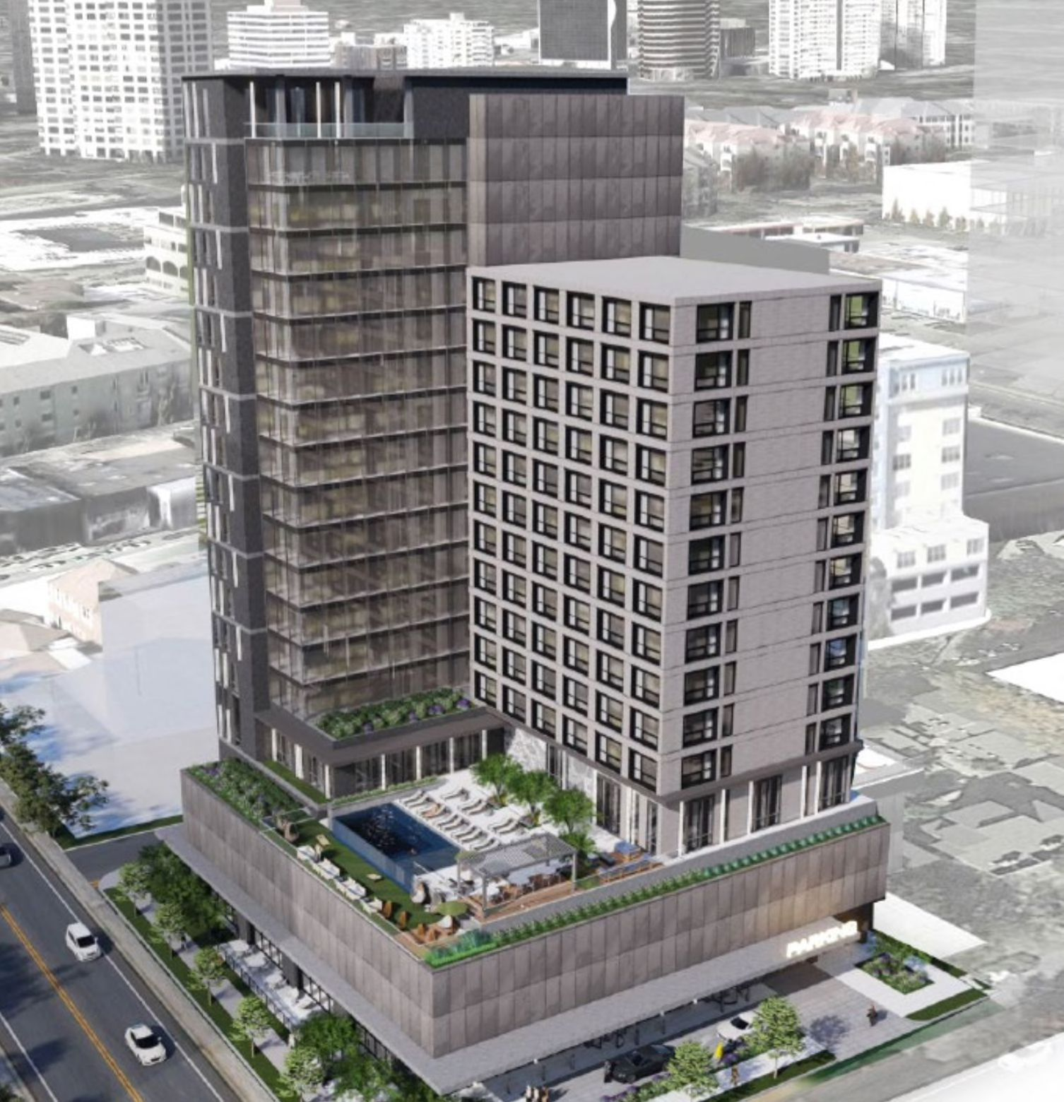Previous owners planned a 19-story Hilton hotel on the site.