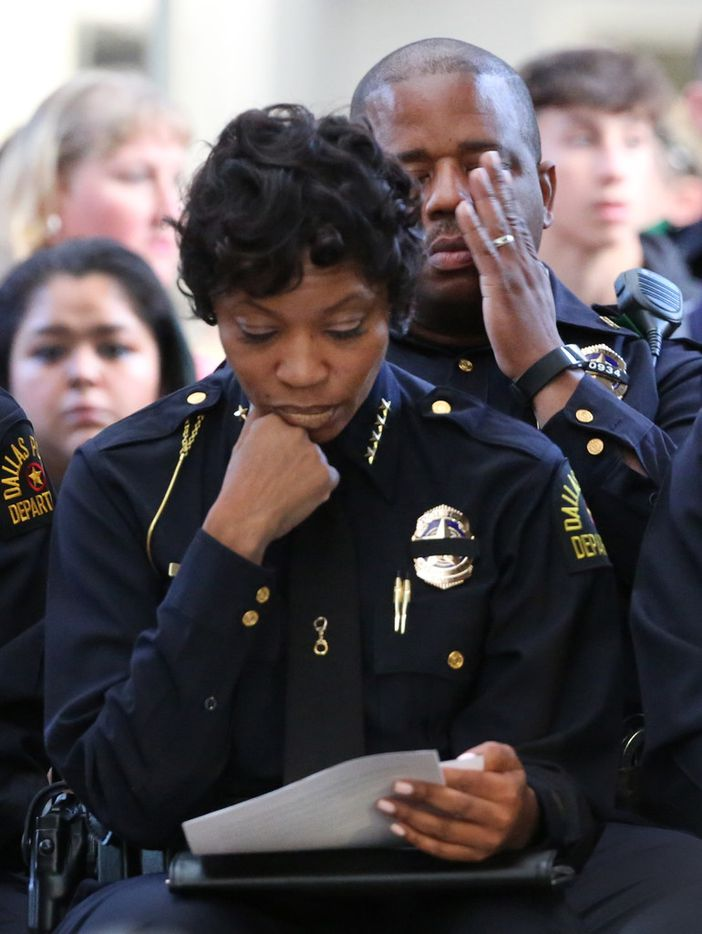 """""""I have struggled all day to try to find the words to say to you today regarding this tragedy, but there are no words,"""" Dallas Police Chief U. Renee Hall said Thursday."""
