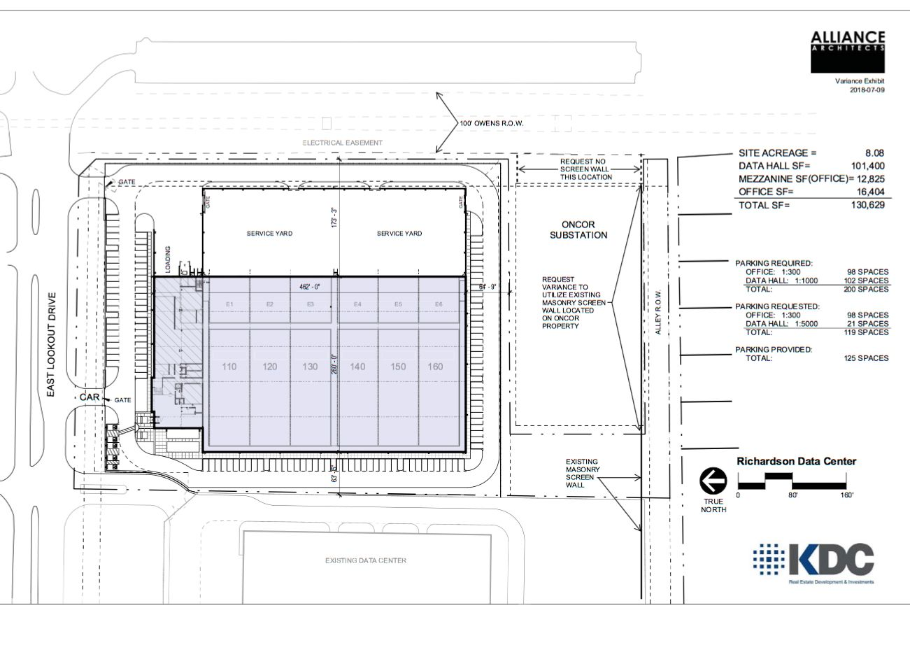The new data center would be more than 130,000 square feet.