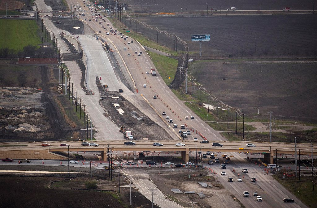 Construction continues on U.S. Highway 380 at Preston Road on Monday, March 6, 2017. The highway between Frisco and Prosper is being expanded to a six-lane freeway with access roads.
