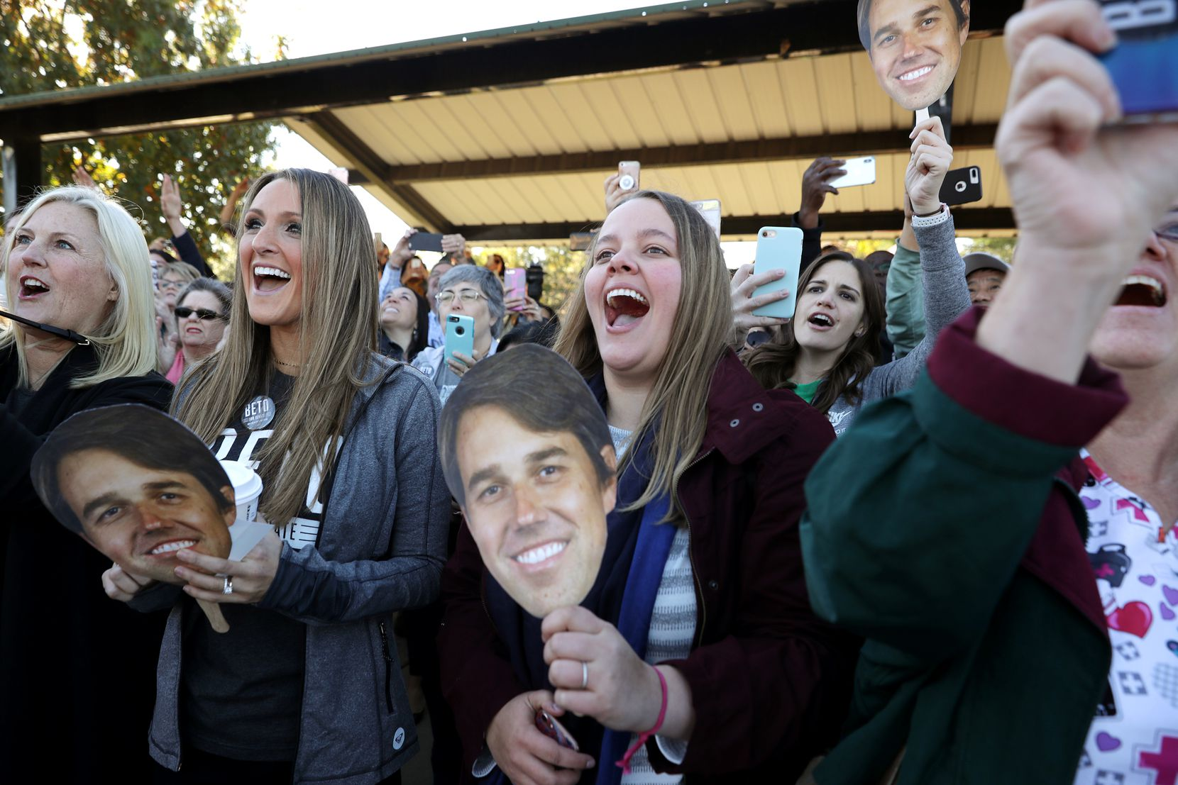 Supporters U.S. Senate candidate Beto ORourke's arrival at a campaign rally on Nov. 2 at Wayne Frady Park in Lewisville.