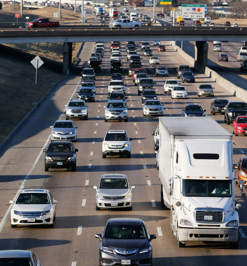 LBJ traffic heading eastbound toward I-30 near the Galloway Avenue intersection in Mesquite, Texas, on Wednesday, January 24, 2018. A $1.8 billion project to improve LBJ Freeway from Central to I-30 will go before the Texas Transportation Commission in Austin on Thursday.