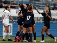 Lewisville Flower Mound players celebrate after a goal against Austin Vandegrift during their UIL 6A girls State championship soccer game at Birkelbach Field on April 16, 2021 in Georgetown, Texas. Lewisville Flower Mound won 2-1.