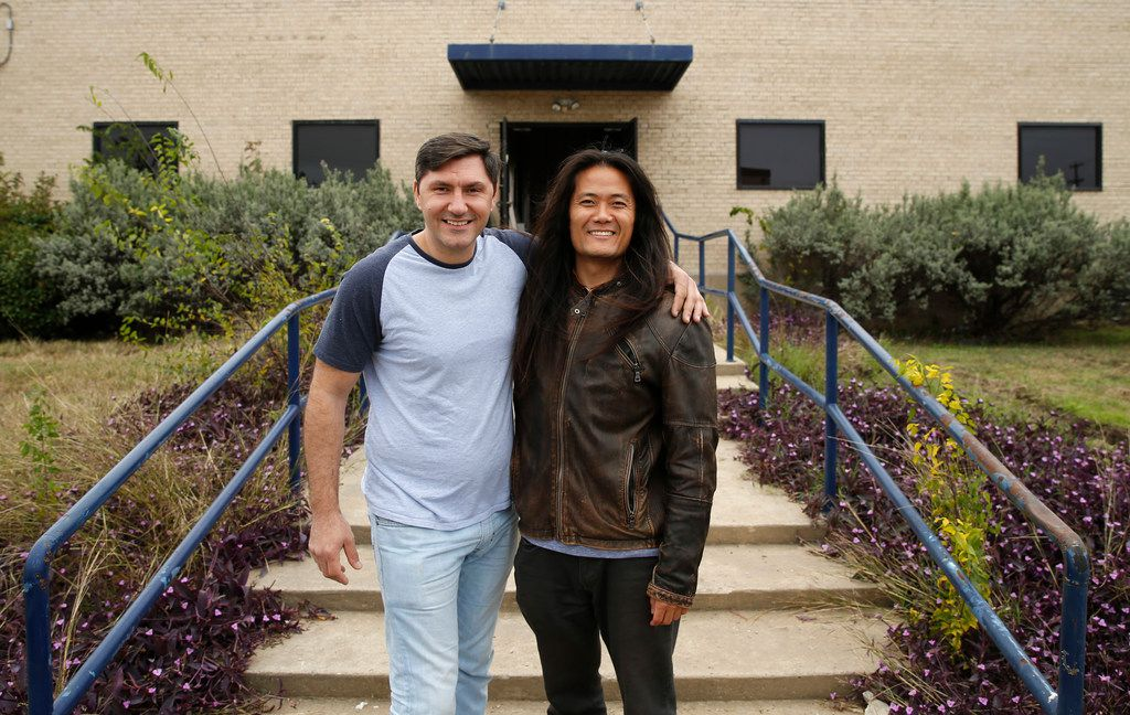 Peja Krstic, chef, and partner Tyler Shin pose for a portrait in front of the Revolving Kitchen in Garland. The city approved a deal with Revolving Kitchen to convert a 60-year-old industrial site into a large-scale commissary kitchen.