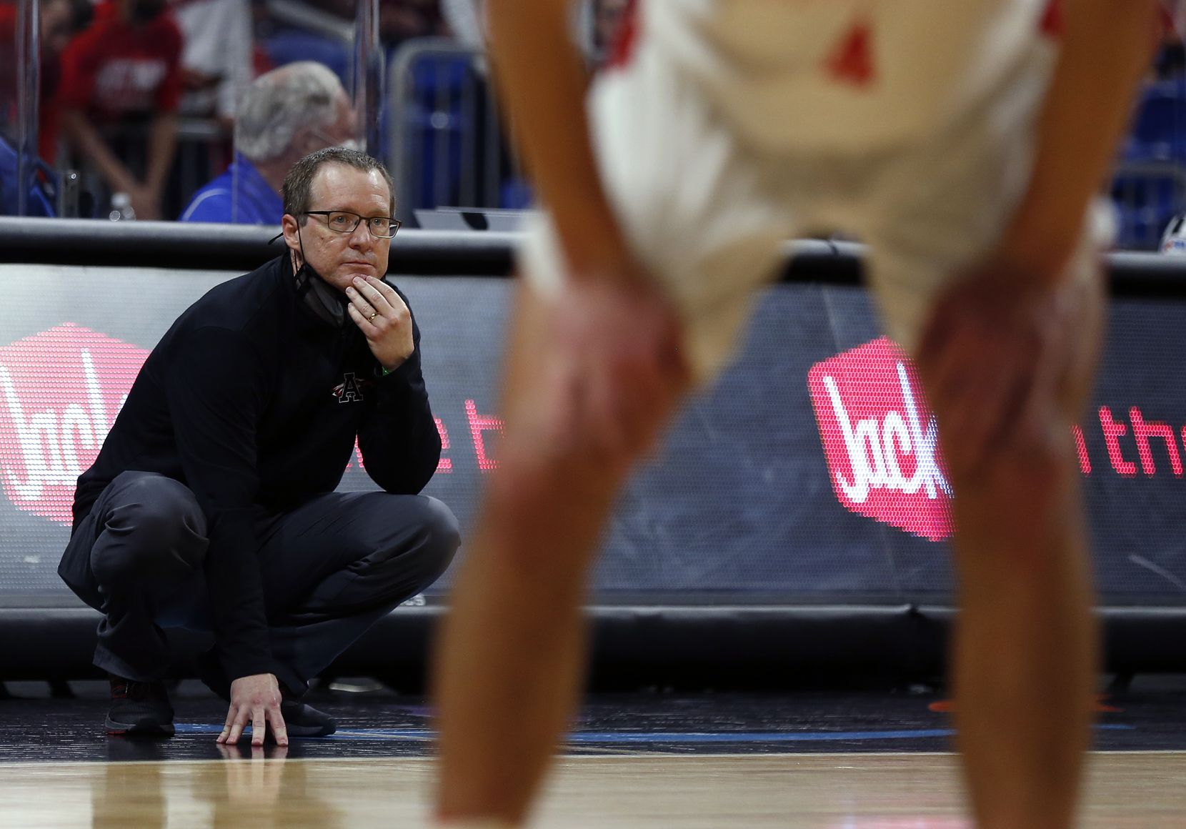 Argyle head coach Russell Perkins watches action. UIL boys Class 4A basketball state championship game between Argyle and Hargrave on Saturday, March 13, 2021 at the Alamodome.
