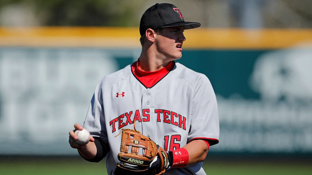 Texas Tech third baseman Josh Jung during an NCAA college baseball game against Kansas State, Sunday, March 31, 2019, in Manhattan, Kan. (AP Photo/Colin E. Braley) ORG XMIT: NYOTK