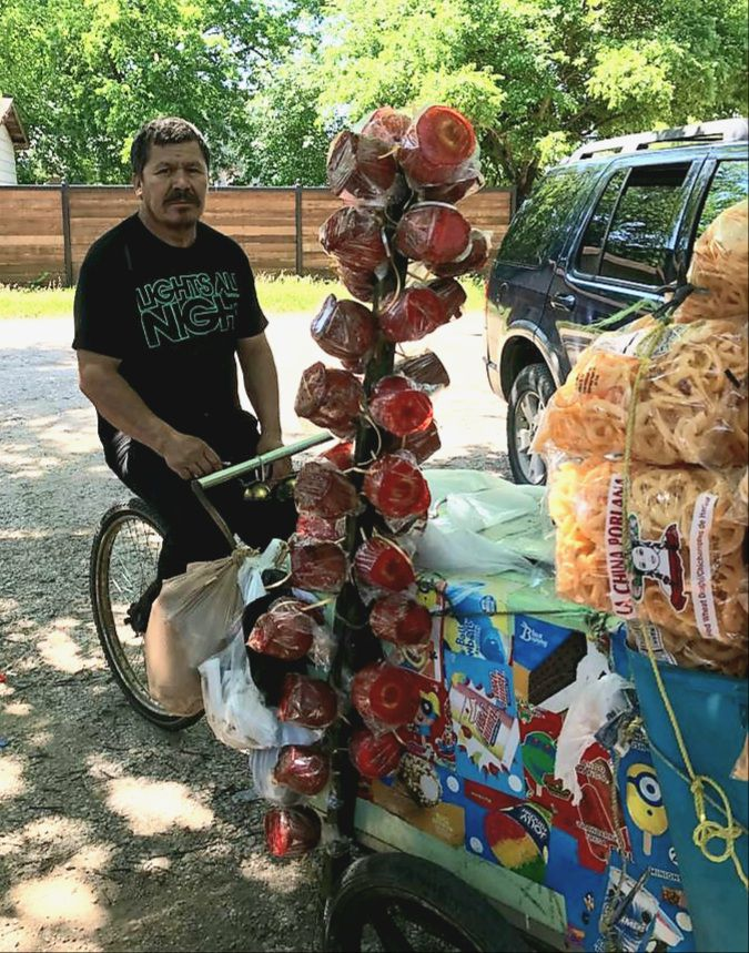 Longtime Oak Cliff paletero Jacinto Mireles in a photo taken in summer 2020. Mireles, 53, was fatally struck Nov. 8 as he pedaled his ice cream and snacks cart up Beckley Avenue.