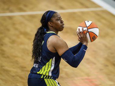 Dallas Wings guard Arike Ogunbowale (24) shoots during a WNBA basketball game against the Atlanta Dream, Thursday, May 27, 2021, in College Park, Ga. The Atlanta Dream won 101-95.