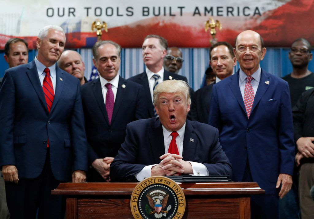 President Donald Trump speaks before signing an Executive Order on the Establishment of Office of Trade and Manufacturing Policy at The AMES Companies, Inc., in Harrisburg, Pa., Saturday, April, 29, 2017. (AP Photo/Carolyn Kaster)