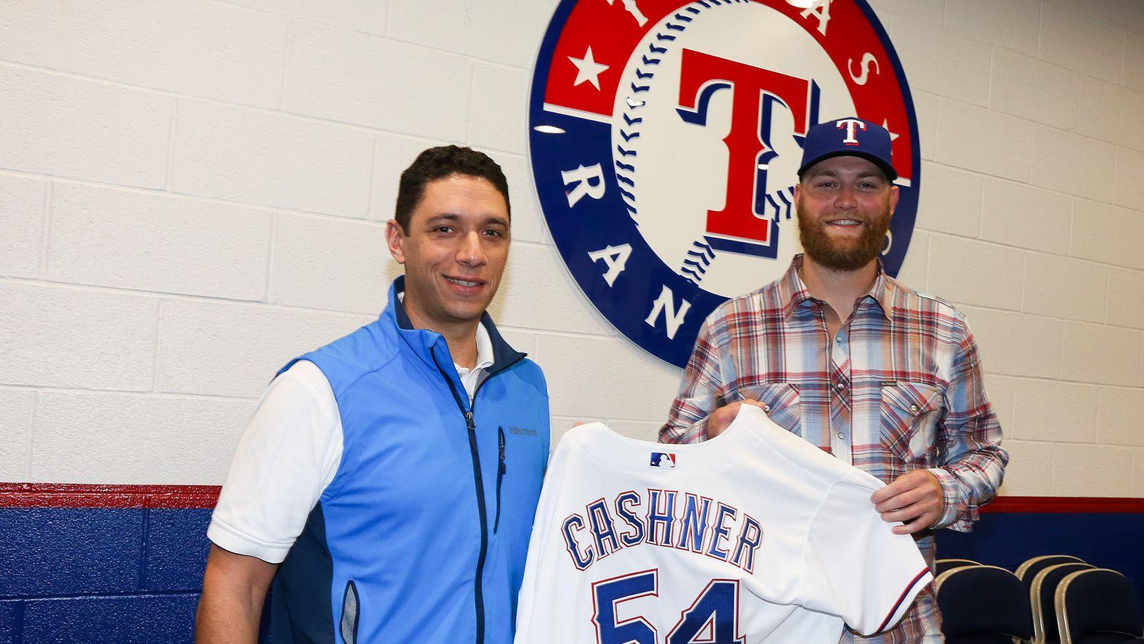 Arlington, TX - The Texas Rangers announce signing of RHP Andrew Cashner at Globe Life Park in Arlington on November 21, 2016.  (Photo by Kelly Gavin/Texas Rangers)
