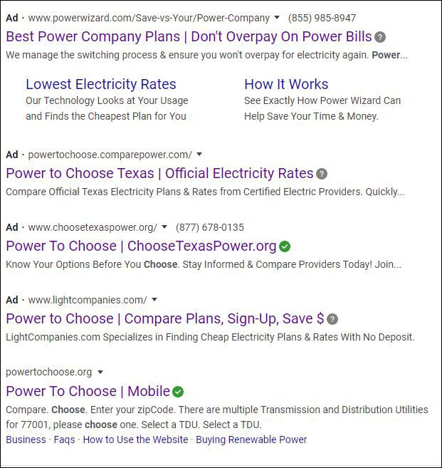 The real PowerToChoose.org website often comes up fifth in a search. That confuses some consumers looking for it.