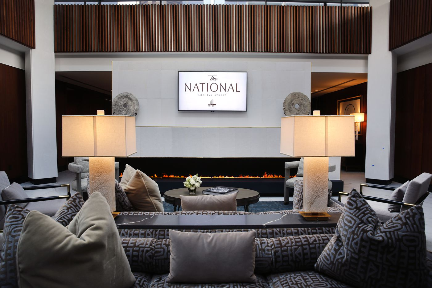 A residential lounge is pictured in The National, a 52-story Elm Street building that has been renovated into a mixed-use project.
