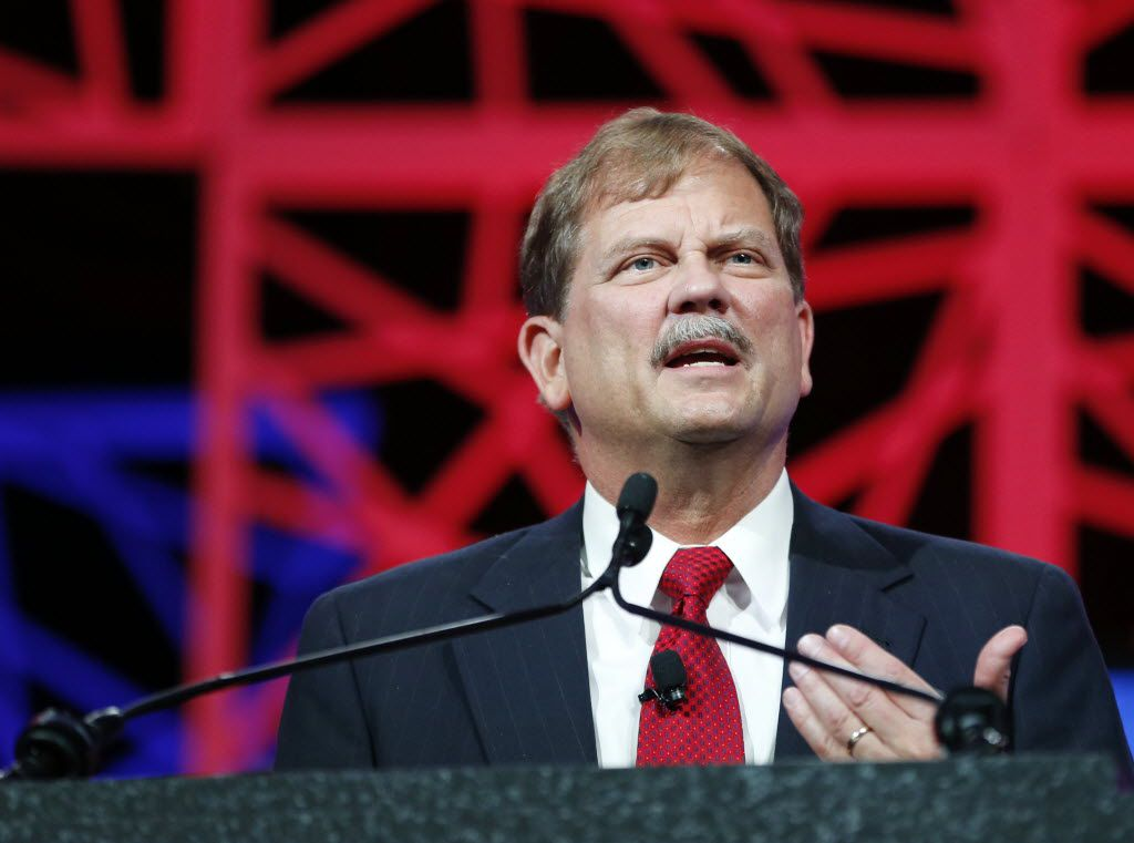 Tom Mechler spoke during the Texas Republican Convention at the Kay Bailey Hutchison Convention Center in Dallas on May 12, 2016.