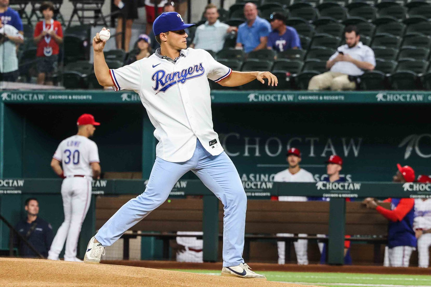 First pitch by Jack Leiter for Arizona Diamondbacks at Texas Rangers at the Globe Life Field in Arlington, Texas on Wednesday, July 28, 2021.