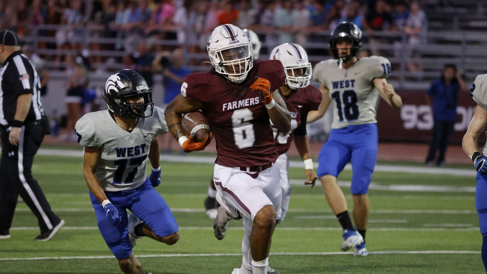 Plano West defender Gael Aguirre (17) chases as Lewisville running back Damien Martinez (6) runs for a toouchdown during the first half of a high school football game in Lewisville, Texas on Friday, Sept. 24, 2021.