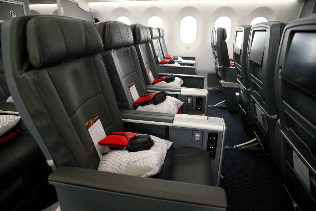 This is the interior of the premium economy cabin seating in the American Airlines 787-9 Dreamliner at DFW Airport. (File Photo/Nathan Hunsinger)