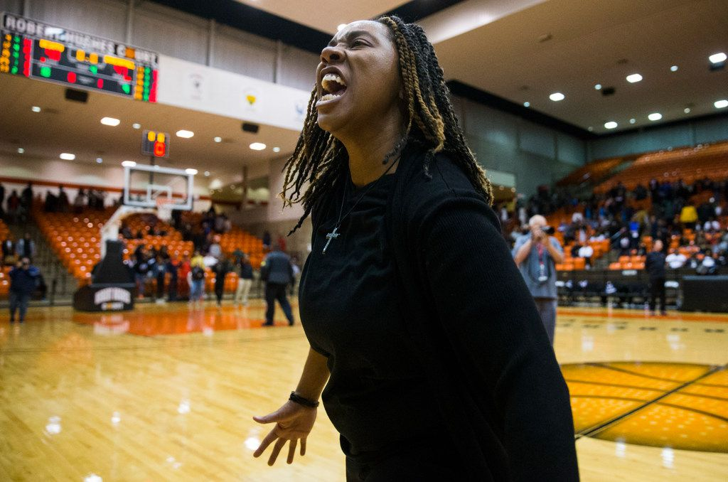 Duncanville head coach LaJeanna Howard celebrates a 47-43 win after a Class 6A Region I quarterfinal girls basketball game between Duncanville and DeSoto on Tuesday, February 25, 2020 at Wilkerson-Greines Activity Center in Fort Worth. (Ashley Landis/The Dallas Morning News)