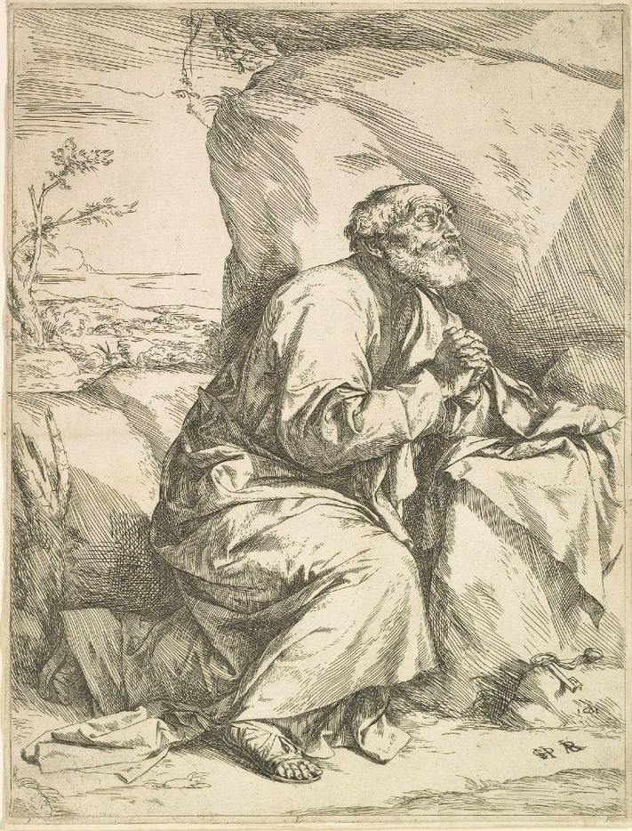 Jusepe de Ribera (Spanish, 1591-1652), The Penitence of St. Peter, 1621. Etching, some engraving on paper. Meadows Museum, SMU, Dallas. Algur H. Meadows Collection, MM.67.22.  Between Heaven and Hell: The Drawings of Jusepe de Ribera March 12 – June 11, 2017
