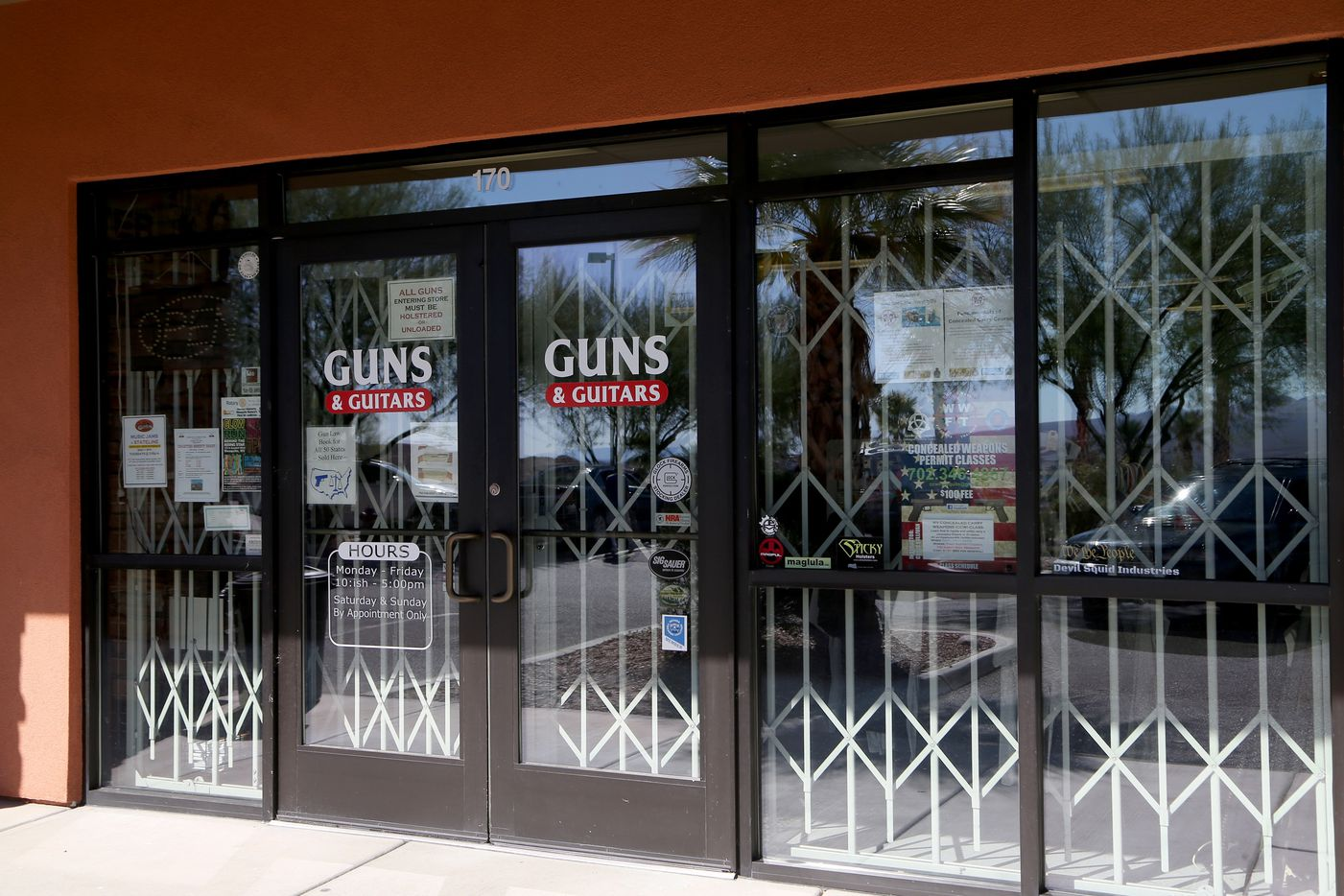 Guns & Guitars, a gun shop, where suspected Las Vegas gunman Stephen Paddock allegedly purchased firearms, October 2, 2017 in Mesquite, Nevada.