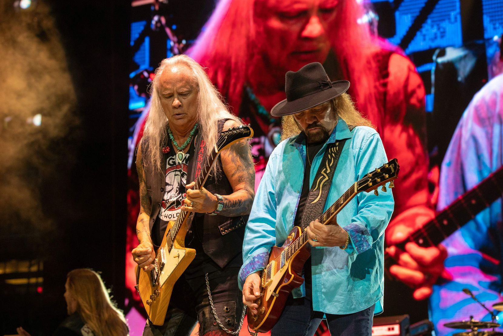 Musician Rickey Medlocke (left) and Gary Rossington (right) of Lynyrd Skynyrd perform during KAABOO Texas at the AT&T Stadium on May 11, 2019, in Arlington.