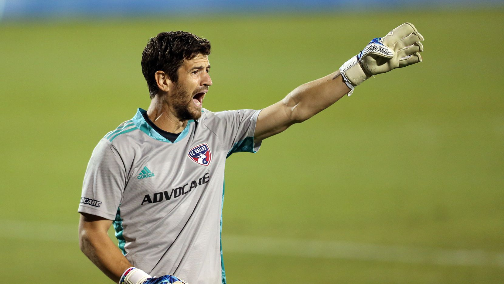 FRISCO, TX - OCTOBER 3: Goalkeeper Jimmy Maurer #20  reacts during MLS Game between FC Dallas and Columbus Crew SC at Toyota Stadium on October 3, 2020 in Frisco, Texas.