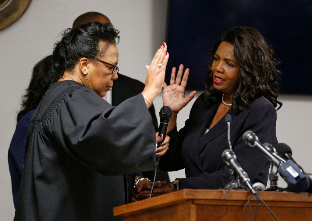 Chief Justice of the fifth court of appeals Carolyn Wright swears in Faith Johnson as Dallas County District Attorney at the Frank Crowley Courts Building in Dallas on Jan. 2, 2017.  (Nathan Hunsinger/The Dallas Morning News)