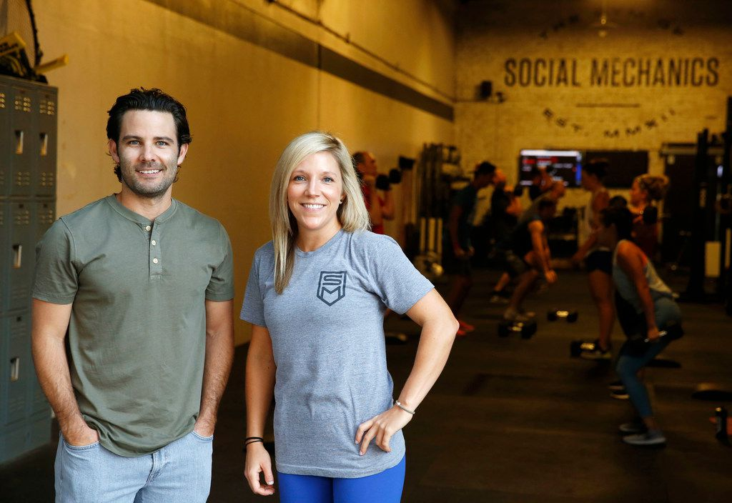 Owner Nick Clark and general manager Cristen Trousdale pose for a portrait at The Gym of Social Mechanics in Dallas on Monday July 16, 2018. Clark, the founder of Dallas-based co-working space Common Desk, recently bought the gym.