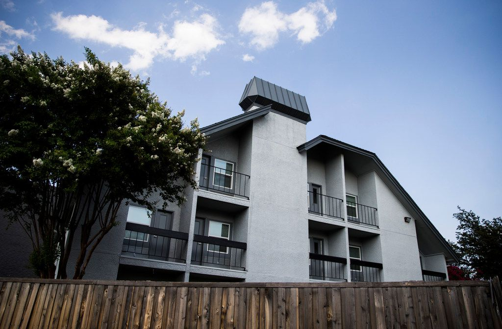 Balconies from resident rooms at St. Jude Center, a senior-living facility for homeless and veterans on Thursday, August 23, 2018. The Dallas Housing Authority was supposed to fill the facility with residents using vouchers, but vouchers are not available due to lack of funding. (Ashley Landis/The Dallas Morning News)