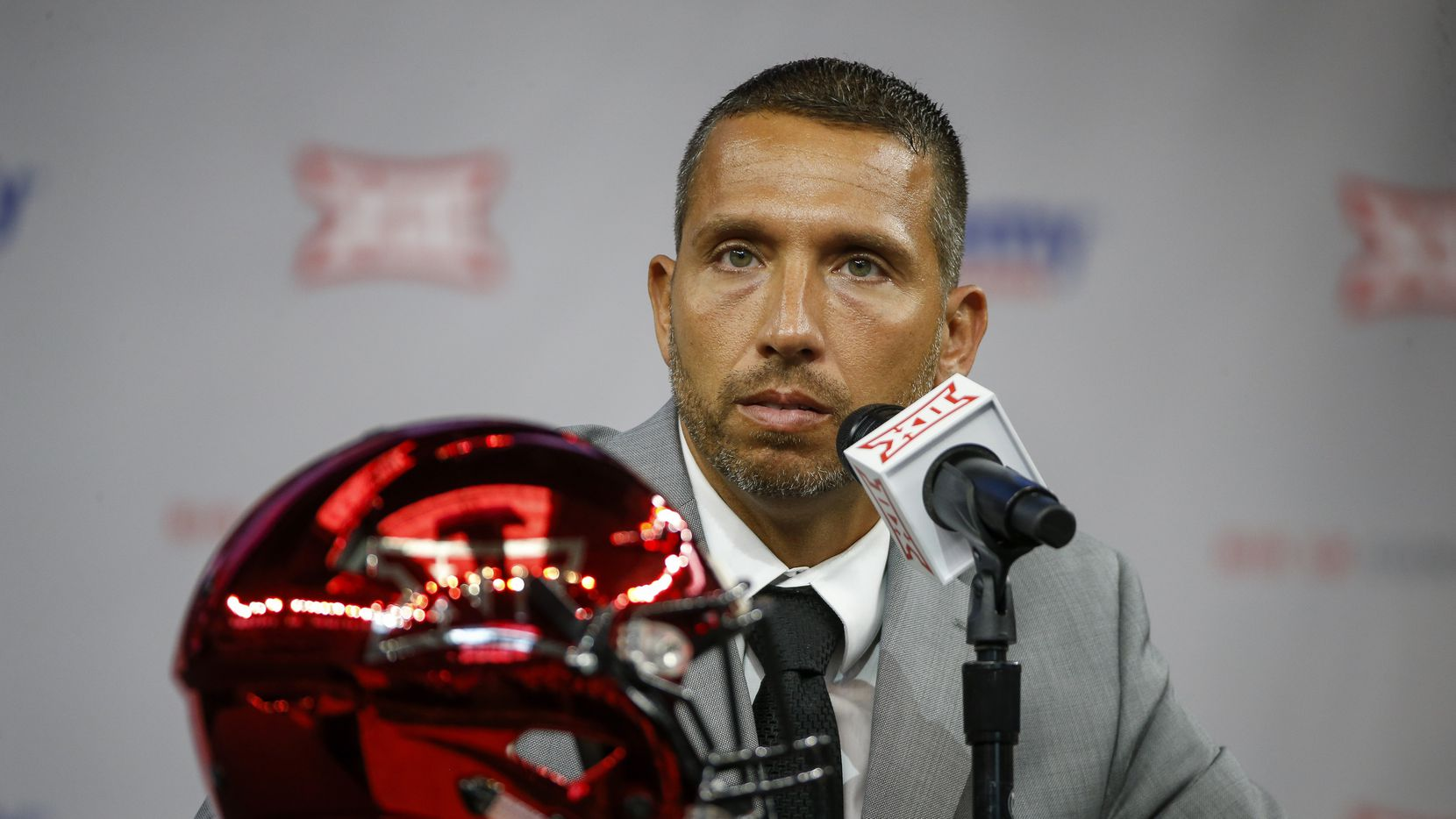 Iowa State head football coach Matt Campbell speaks during the Big 12 Conference Media Days at AT&T Stadium on Wednesday, July 14, 2021, in Arlington.