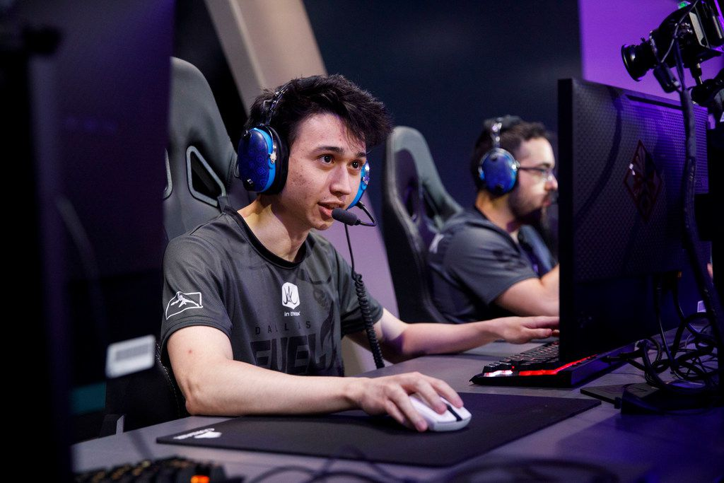 """Ash """"Trill"""" Powell substitutes in during the Overwatch League match between the Dallas Fuel and LA Gladiators on Friday, August 9, 2019 at Blizzard Arena in Burbank, CA. (Photo by Patrick T. Fallon/Special Contributor to The Dallas Morning News)"""