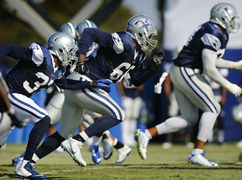 Dallas Cowboys defensive end Mike McAdoo (66) pass rushes the offense during afternoon practice at training camp in Oxnard, California, Tuesday, August 2, 2016. (Tom Fox/The Dallas Morning News)
