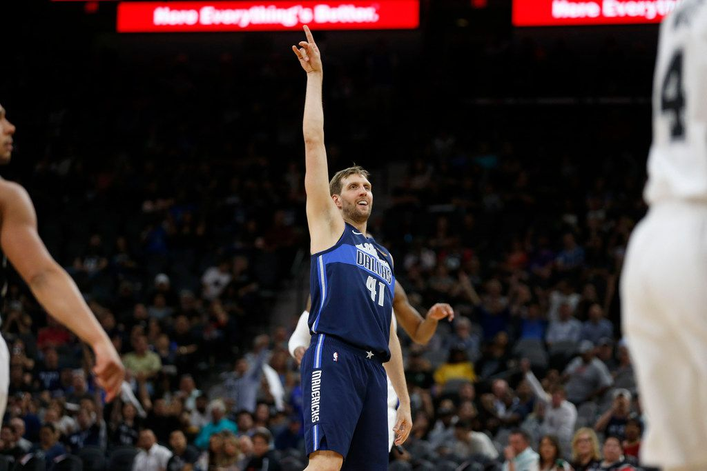 Dallas Mavericks forward Dirk Nowitzki (41) reacts after a shot during the second half of play against the San Antonio Spurs at AT&T Center in San Antonio, Texas on Wednesday, April 10, 2019. (Vernon Bryant/The Dallas Morning News)