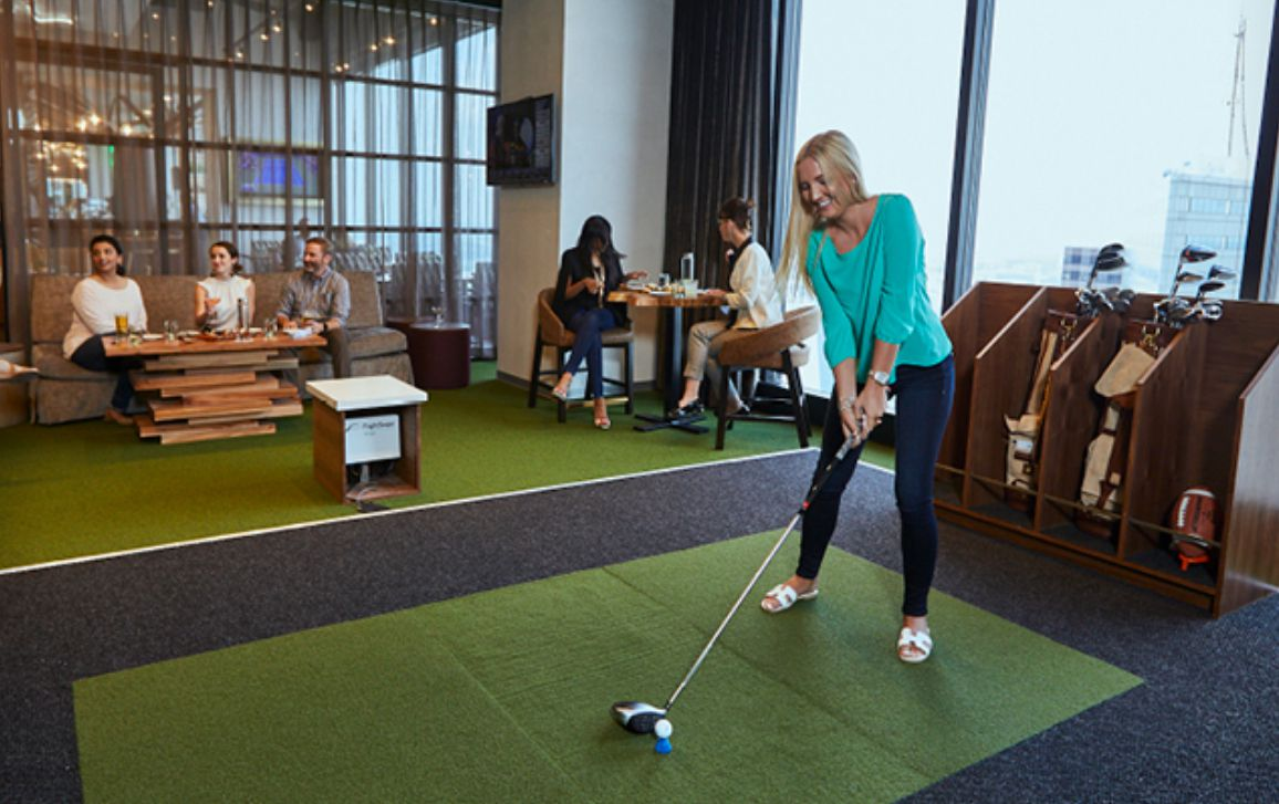Part of the Tower Club redo includes a golf simulator.