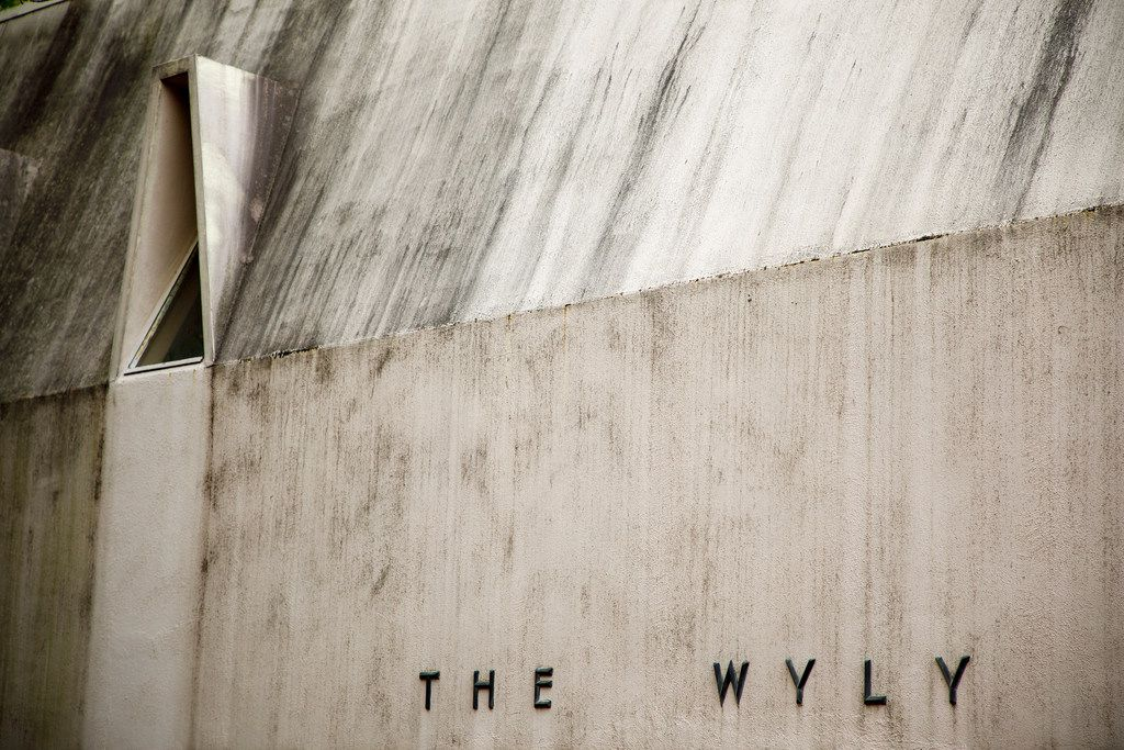 Streaks of discoloration show on the exterior of the Wyly Wing at the Kalita Humphreys Theater.