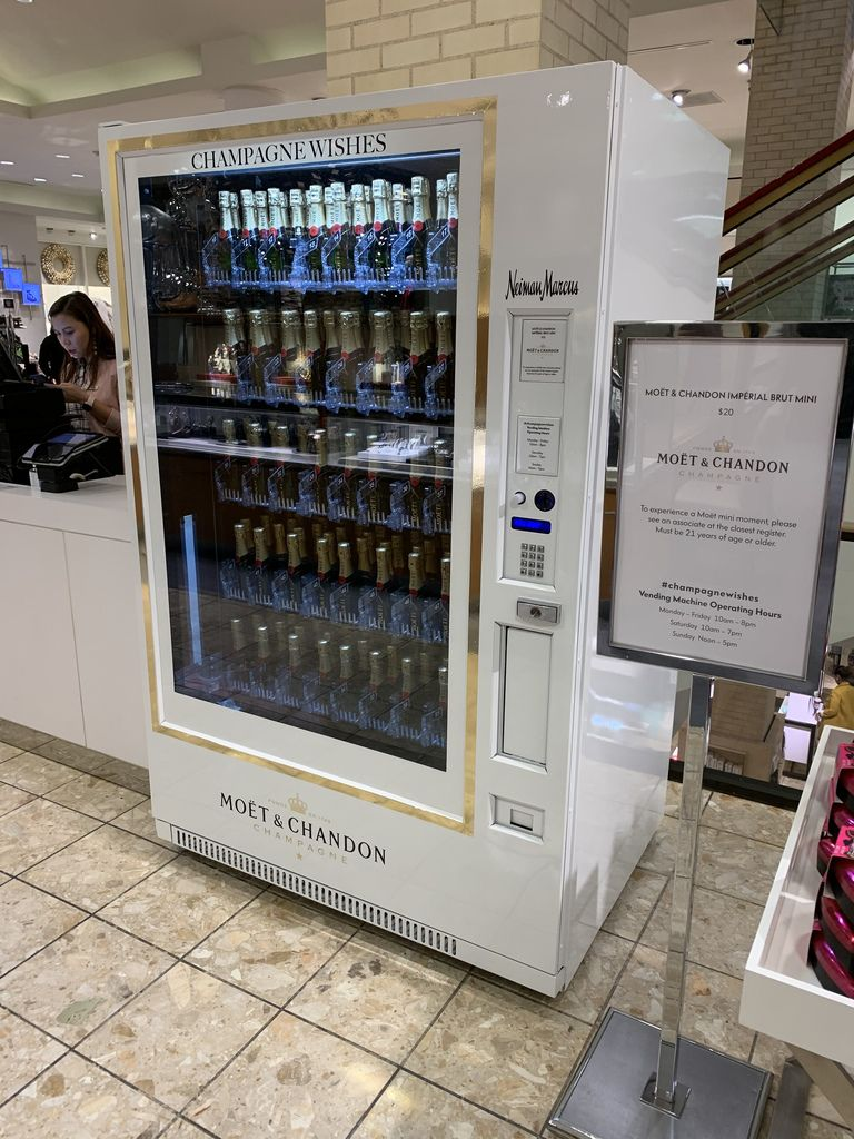 A Moet & Chandon Champagne vending machine is one of the 2019 Neiman Marcus fantasy gifts. It costs $35,000, not including the alcohol. It comes with a list of local retailers that sell the bottles to keep it filled.