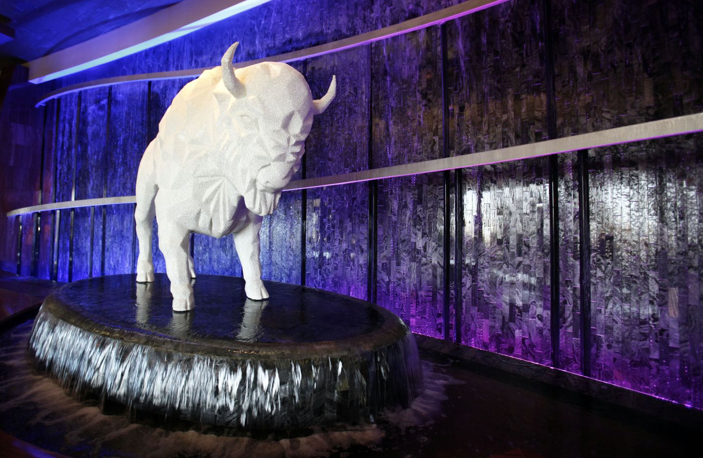 Crystal buffalo and water wall in the lobby at Choctaw Casino Resort in Durant, Okla, A new addition will double the size of the resort that is 90 miles north of Dallas.