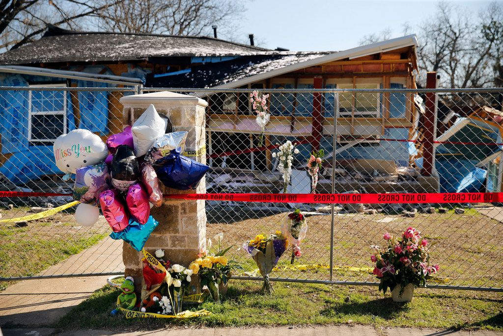 A memorial for 12-year-old Linda Michelle Rogers outside the home she was killed in when it exploded.