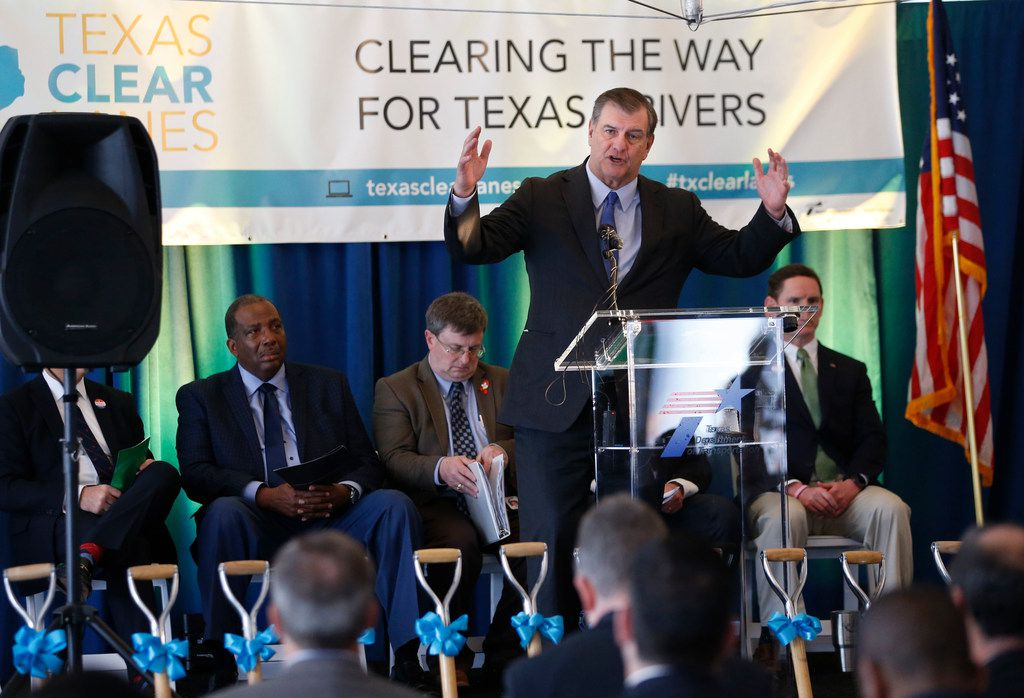 Dallas Mayor Mike Rawlings speaks during a groundbreaking ceremony of The Southern Gateway Project in Dallas on Wednesday, February 28, 2018. The Southern Gateway Project,  a $666 million design-build construction project by the Texas Department of Transportation aimed to rebuild and widen I-35E south of downtown Dallas, as well as widen U.S. 67 between I-35E and I-20 and the I-35E/U.S. 67 split. Construction will also include building two reversible, non-tolled express lanes. The goal of the 11-mile project is to improve safety, provide congestion relief, address roadway deficiencies and improve system linkage. (Vernon Bryant/The Dallas Morning News)